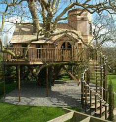 Tree house w/ spiral staircase. Don't care for the gravel below it...