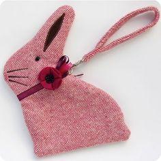 Pink Tweed Bunny Purse - The Linen Cat