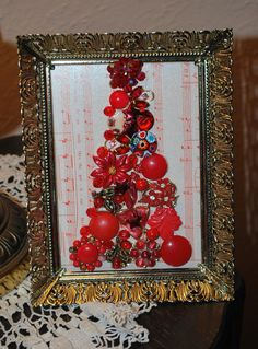 Christmas Tree Framed Art Embellished with Vintage Jewelry Found Items Music