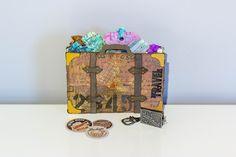 A vintage valise Ranger Ink, Tim Holtz, Tissue Paper, Mixed Media, Vintage, Suitcase, Mixed Media Art