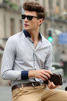 Modern Series Grey Men Polka Dot Shirt