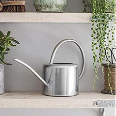 CKB LTD® Indoor Watering Can- Galvanized Steel - For Houseplants Contemporary Small Metal Design With Narrow Spout And High Handle (Chalk)