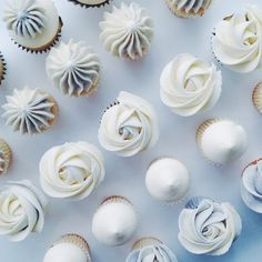 White Sweets Table Cupcakes by Nectar and Stone Melbourne Buttercream Cupcakes, Baking Cupcakes, Cupcake Cookies, Cupcake Frosting, Fancy Cupcakes, Yummy Cupcakes, Wedding Cupcakes, Nectar And Stone, Gateau Baby Shower