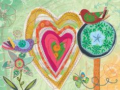 """Love Bird Stitches"" wall art for children by Lori Siebert for Oopsy daisy, Fine Art for Kids #oopsydaisy #oopsydaisyart"