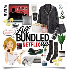 """""""What to wear: Netflix style"""" by lseed87 ❤ liked on Polyvore featuring VaVa, Polder, The Hampton Popcorn Company, Casetify, Diptyque, Butter London, Imm Living, Sin, WhatToWear and netflix"""