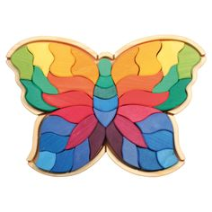 Amazon.com: Grimm's Giant Butterfly Creative Puzzle with 37 Wooden Blocks in Rainbow Colors: Toys & Games