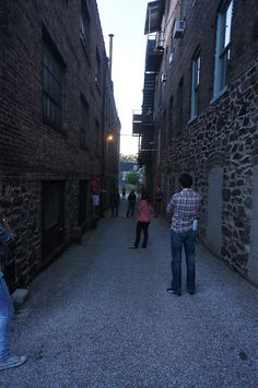 The alley where it will all get started. With the Prologue. Then we'll move down the alley for the first three scenes, and then out front of Area 405 for one, and then in through the garage doors to the courtyard by the balcony scene.