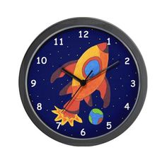 Hunter discovery 48 in indoor brushed nickel ceiling fan with light blast off rocket ship in space wall clock aloadofball Images