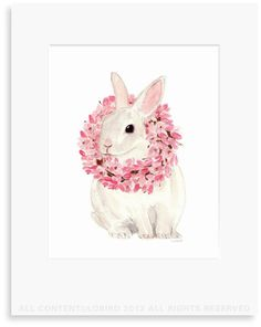 White Rabbit with Magnolia Wreath ©Lobird - Garden and Spring - Original Watercolor Art print, Wall Art, Decor | Lobird.com