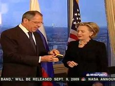 """Hillbillyhill and the """"reset"""" button which was....misspelled.....for the Russian Foreign Minister. What an incompetent, liar, buffoon, joke, fraud, loser and """"wife"""" of Bill."""