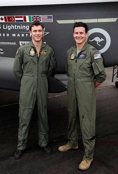 The first RAAF pilots selected to fly the F-35A Lightning II, Squadron Leaders Andrew Jackson (left) and David Bell in front of an F-35A Lightning II mock-up. Sqdn Leader Jackson commences test flying the Lightning II 27 January 2015.