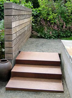chunky wood effect and corten steel steps Landscape Steps, Landscape Architecture, Landscape Design, Modern Landscaping, Backyard Landscaping, Corten Steel Garden, Outdoor Steps, Garden Steps, Garden Structures