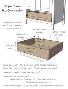 This DIY tutorial will show you how to build a quick and easy yet strong and beautiful drawer box that can be used in any cabinet or piece of furniture. Incase you can't replace the broken or lost drawer Furniture Projects, Furniture Making, Furniture Makeover, Home Projects, Diy Drawers, Kitchen Drawers, Cabinet Drawers, Vanity Cabinet, Shabby Chic 3 Drawer Dresser