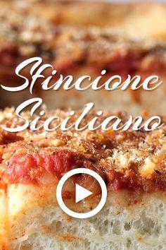 Sfincione Siciliano by Mangia Bedda. This easy recipe of Sicilian style pizza is. - Sfincione Siciliano by Mangia Bedda. This easy recipe of Sicilian style pizza is unlike any other y - Sicilian Style Pizza, Sicilian Food, Sicilian Recipes Authentic, Sicilian Pizza Recipe, Italian Pastries, Italian Dishes, Italian Bread, French Pastries, Pizza Recipes