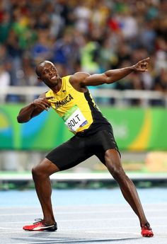Usain Bolt of Jamaica celebrates winning the Men's Final on Day 13 of the… Hands Rio Olympics 2016, Summer Olympics, Usain Bolt Photos, Usain Bolt Pose, Olympic Gold Medals, Sports Personality, Olympic Athletes, Body Poses, Speed Racer