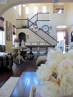 stairs - eclectic - living room - san diego - My Uncommon Slice of Suburbia Eclectic Living Room, Formal Living Rooms, Living Spaces, Decorating Stairway Walls, Wrought Iron Staircase, Painting Oak Cabinets, Patio Makeover, Interior Exterior, Interior Design