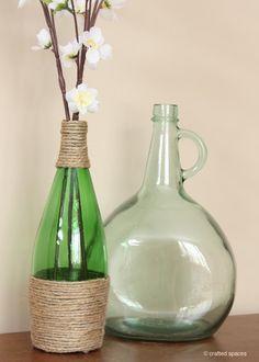 decora botellas de vidrio.