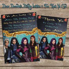 Disney Descendants Birthday Invitation And Thank You Card