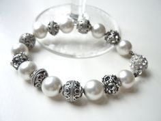 Chunky Pearl Bracelet Pearls & Silver Bracelet by JuJuBeader, $75.00