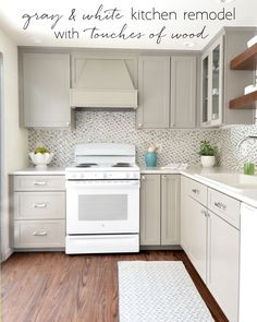 gray & white kitchen remodel with touches of wood, open shelves, small kitchen, white appliances White Kitchen Appliances, White Kitchen Cabinets, Kitchen Redo, Kitchen Ideas, White Counters, Ranch Kitchen, Cleaning Appliances, Narrow Kitchen, Condo Kitchen