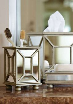 These bath accessories sparkle with drama...