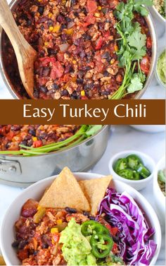 Hearty, filling, nutritious, and made in under 30 minutes, this Easy Turkey Chili is a weeknight staple your entire family will enjoy. Learn how to set up a DIY Chili Bowl Bar with a variety of toppings and serving suggestions. Healthy Appetizers Dips, Appetizer Dips, Easy Turkey Chili, Bar, Dinner, Ethnic Recipes, Food, Dining, Food Dinners