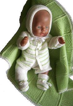 CHRISTINA - Cardigan, Muts, Romper, Sokjes en Dekentje (Pdf. breipatroon voor babypoppen van 45 cm zoals bijvoorbeeld baby Born , Chou Chou en Annabell ) Design: Målfrid Gausel