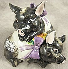 Fitz and Floyd HAMPSHIRE HOG Pig Pomander 1992 - 1994