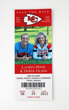 Kansas City Chiefs - Football - Wedding Save the Date Ticket