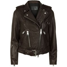 AllSaints Gidley Leather Biker Jacket (€435) ❤ liked on Polyvore featuring outerwear, jackets, buckle leather jacket, real leather jackets, leather jackets, genuine leather jackets and vintage biker jacket