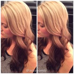 Reverse ombre. High contrast. Blonde to Brown. Curls. Hair by Lindsay Accomando. Follow me on Instagram @accomando