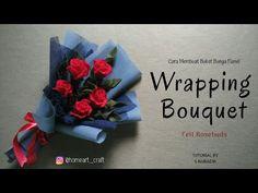 Wrapping Bouquet By S Nuraeni - Cara Membuat Buket Bunga Mawar Dari Kain Flanel (Mudah) Felt Flower Bouquet, Bouquet Wrap, Felt Flowers, Fabric Flowers, Flower Shop Design, Felt Flower Tutorial, Diy Wrapping, How To Wrap Flowers, Rose Buds