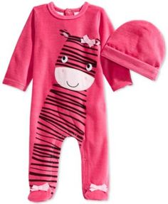 First Impressions Baby Girls' Zebra Coverall & Hat Set, Only at Macy's