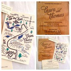 Hand Drawn Wedding Maps of Savannah GA | Hand drawn map (by Catherine Ashlee Partridge) and wooden wedding ...
