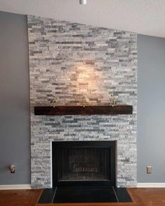 I Built A Stacked Stone Fireplace Surround