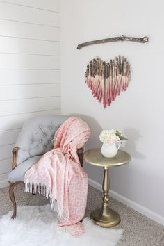 DIY Ombre Branch Heart Art