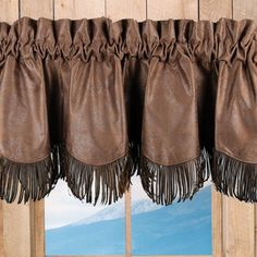 Faux Tooled Brown Leather Valance
