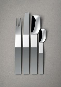 This clever cutlery collection goes to show that flatware doesn't always have to mirror the same mundane shape. This contemporary interpretation is not only different and just as pleasant to use, its flat, folded profile also makes each piece nestable with the next! Together they create a unique geometric visual that's sure to be a conversation starter.  Designer: Till Kobes