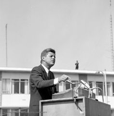 John F. Kennedy in Flint, Michigan. I was there. Sitting up on my Dad's shoulders.