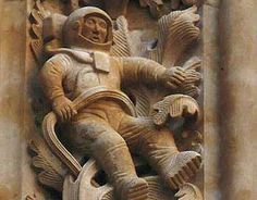 Astronaut Carving on Salamanca Cathedral Wall.  Proof of time travel or Alien visits.  No, there is no mystery. The astronaut was added in 1992 during restoration work on the cathedral.