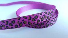 3m Ribbon - Printed Grosgrain - 9mm - Leopard Print - Violet
