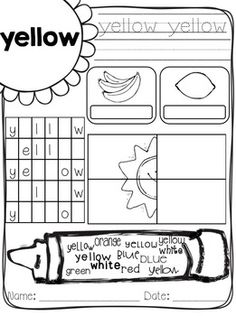 Bilingual Scrapbook: Color Practice Pages {red, blue, yellow, green, orange… Kindergarten Colors, Preschool Colors, Teaching Colors, Kindergarten Reading, Kindergarten Classroom, Kindergarten Activities, Classroom Activities, Preschool Math, Classroom Ideas
