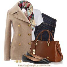 Peacoat, plaid scarf, flats & satchel