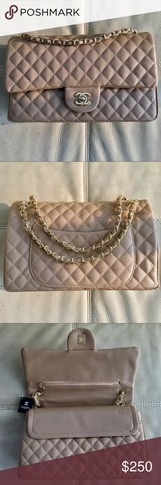 Light Cream Color CHANEL Bag This products is NOT AUTHENTIC. Very high Quality. What you see it's what you'll get. Beautiful light cream color Bag and very popular, this model is very wished and know by society. Bags Shoulder Bags