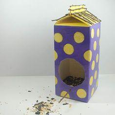 Create a colorful bird feeder from a carton