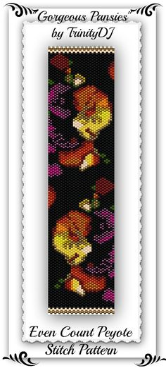 """New Even Count Peyote Stitch Bracelet Pattern listed in my Etsy shop: """"Gorgeous Pansies"""" - Please follow this link for more info: https://www.etsy.com/listing/164163412/bp-flo-001-gorgeous-pansies-even-count"""