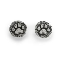 These adorable New Rustic Paw Print earrings, have a stylish Old World look to them,and will be another dog jewelry or cat jewelry favorite!These Paw Print stud earrings (they have a post on them) are just like our smaller ones only larger...They are 7/16 of an inch wide with a heavy post on the back.They also come with a pair of sturdy friction backs to hold them.The paw print coin/disk style of earring has a slight antique finish to make the paw print stand out.