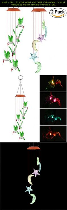Aunifun 2pcs LED Solar Mobile Wind Chime Star & Moon LED Solar Windchimes and Hummingbird Wind Chime for Decoration Home #hummingbird #technology #outdoor #shopping #parts #kit #tech #drone #decor #camera #plans #fpv #gadgets #products #racing