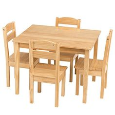 Costzon Kids 5 Piece Table and Chair Set, Pine Wood (Natural)
