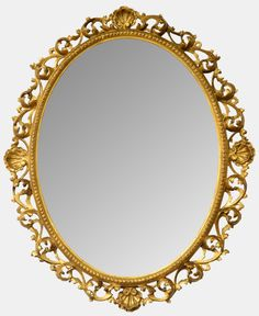 19th Century Oval Giltwood Mirror